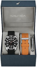 Men's Nautica NST 07 Black/ Orange Box Set Watch N11562G