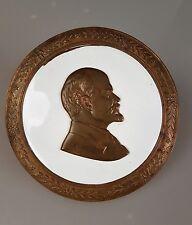 Bronze Porzellan Medaille Russland Lenin Plakette Tischmedaille Wandmedaille