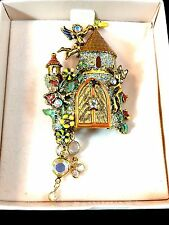 RARE DAZZLING NIB KIRKS FOLLY RHINESTONE CAMELOT MAGIC CASTLE DANGLE BROOCH PIN