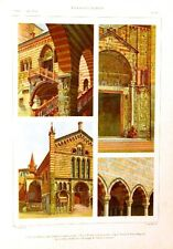 Stampa antica VERONA San Fermo San Zeno UDINE Loggia 1920 Old antique print
