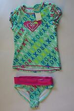 NWT Roxy -10- Cabbage Green Pink Logo  2 Pc Rash Guard Tankini Swimsuit Set UV