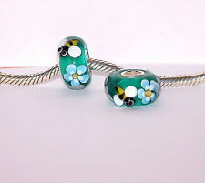 925 STERLING SILVER SINGLE CORE MURANO GLASS ANIMAL BEAD BEES ON FLOWERS CHARM