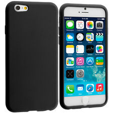 For Apple iPhone 6S (4.7) Silicone Soft Rubber Skin Case Cover Black