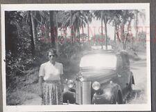 Vintage Car Photo Pretty Girl w/ 1940 Austin Automobile 753693