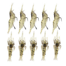 Lot 10pcs Shrimp Simulation Soft Prawn Lure Bait Hook Tackle Bass Fishing Lures