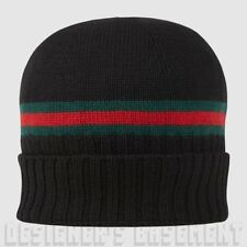 GUCCI black XL green-red-green WEB knit 100% Wool BEANIE SKI hat NWT Authentic!