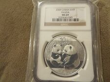 2009 SILVER PANDA CHINA S10Y 1oz - NGC MS69 NICE
