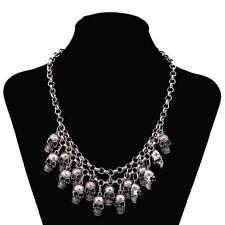 Retro Vintage Silver Tone Skull Design Dangle Chain Pendant Necklace Jewelry