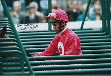 Lester PIGGOTT Signed Autograph Photo AFTAL COA Champion Jockey Flat Racing