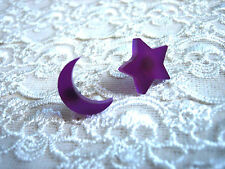 'LA LUNA' MOON AND STAR STUD EARRINGS ... PURPLE / CRESCENT / CELESTIAL / WITCH