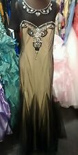 DEB rhinestone BLING sheer SIZE 12 black formal gown prom dress.  NEW!!!!