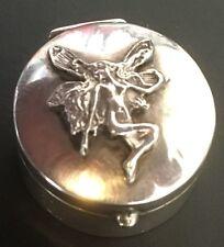 Cute FAIRY Sterling Silver .925 Round Pill / Snuff Box British Hallmarks - L020