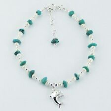 silver bracelet 925 silver turquoise gemstone & pearl beads dolphin charm  PSA
