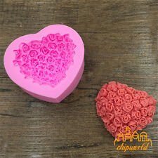 Pink 3D Love Roses Heart-shaped Silicone Mold Fondant Cake Mold Baking Die