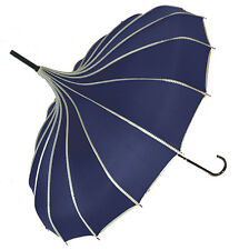 Blooming Brollies Ribbed Polka Dot Pagoda Stick Umbrella - Navy