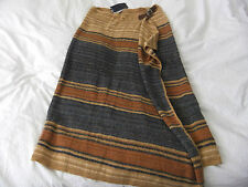 POLO RALPH LAUREN LINEN/SILK MIX HAND KNIT MAXI WRAP SKIRT RICH AUTUMN  SIZE L