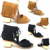 LADIES ANKLE STRAP CUT OUT TUSSLE FRINGE BLOCK HEEL CHUNKY LACE UP SANDAL SHOES