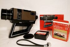 1972 GAF ST/602 Super 8 Movie Camera + 3 Movie Film + Strap + Lens Cover + Book