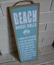 BEACH HOUSE RULES Large Rustic Nautical Blue Shell Ocean Home Decor Sign - NEW