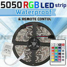 5M 5050 RGB SMD LED Waterproof Flexible Strip 300 LEDs + 24 Key IR Remote