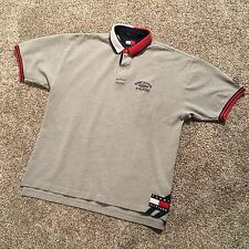 Vintage Tommy Hilfiger Athletics Bar Logo Big Patch Polo Shirt Spell Out