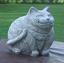 ANTIQUED WHITE SMILING FAT CAT CHESHIRE KITTY GRAY CEMENT/CONCRETE STATUE