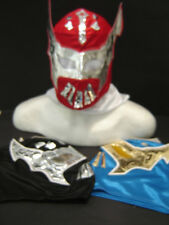 "LOT of 3 SIN CARA ""BLUE*BLACK*RED"" WRESTLING MASKS ADULT SIZE FREE SHIPPING .."