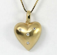 Diamond puffed heart pendant necklace Etoile set round brilliant .10CT box chain