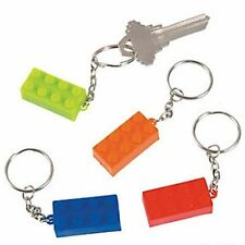 Pack of 12 - Brick Key Chains Keyrings - Lego Party Bag Fillers