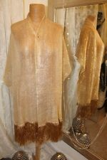 Gold metallic shawl wrap tassled scarf -  Ditsy Vintage Vamp 30s style
