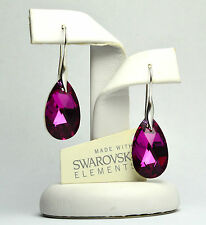 NEW!!! Silver Plated HOOK PEAR Earrings made with  Swarovski Crystals 22mm