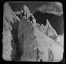 Glass Magic Lantern Slide MOUNTAINEERS ON GLACIER C1890 MONT BLANC ? FRANCE