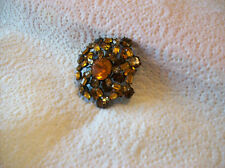 Brooch Vintage Signed Schreiner Of New York Tiered Glass Rhinestone Honey Color
