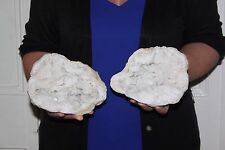3.83KG Large solid quartz crystal WHOLE geode matching pair fairy cave Stunning