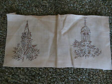"2 Vintage Completed CHURCH STEEPLES Embroidery - 4 3/4"" x 9 3/4"" + Borders"