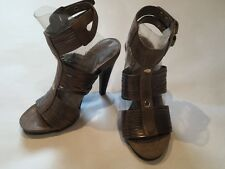 NINE WEST NW STYLE FILE BROWN TAUPE HIGH HEEL SANDAL 4.5 M EUC