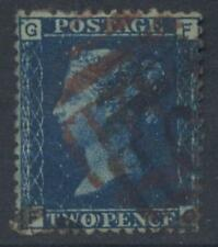 GB QV 1858 2d BLUE ...USED with RED NUMERAL in ERROR and Black Correcting