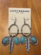 Lucky Brand Silver Tone Tribal Feather Turquoise Hoop Charm Earrings MSRP $39