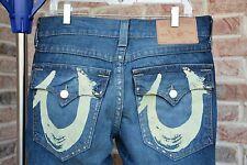 Men's Authentic TRUE RELIGION Painted Pocket Blue Jeans Size 32