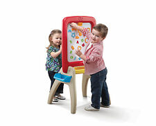 Step2 All Around Easel for Two Red Kids Painting Chalkboard Dry Erase Magnet ABC
