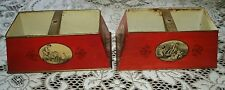 2 Antique 1930's ~ 40's BOUILLOTTE LAMP RED Tole Lamp Shades 4 Seasons Saisons