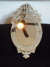 "Venetian Glass Oval & Bevelled Shabby Chic French Etched Mirror 32x19"" EXC"