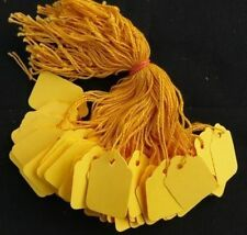 100 x 42mm x 27mm Yellow Strung String Tags Swing Price Tickets Tie On Labels