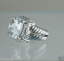 WOMAN'S RING SILVER PLATED,FINE FACETED SQUARE CRYSTAL SOLITAIRE BEAUTIFUL