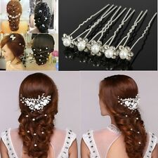 20Pcs Wedding Bridal Crystal Pearl Flower Rhinestone Hair Pins Clips Bridesmaid