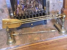Genuine Antique Solid Brass Fire Place Dog Ends Andirons Companion Set Rests