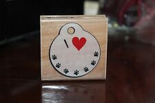 I love my Puppy Time Wood  Mounted Rubber stamp, dog/ paw prints, NEW,