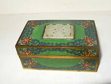 RARE DEEP CARVED FLORAL CHINESE WHITE JADE TOP CLOISONNE ENAMEL HUMIDOR JAR BOX