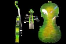 Perfect Green colors 5 strings 4/4 electric violin +Acoustic violin #8641