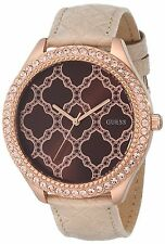 Guess Womens Sparkling Impression Crystal Rose Gold Tone SS Cream Leather Watch